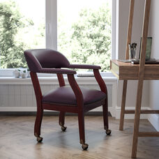 Burgundy LeatherSoft Conference Chair with Accent Nail Trim and Casters
