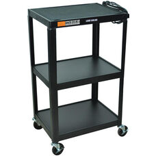 Fixed Height 3 Shelf Steel A/V Cart - Black - 24
