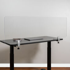 """Clear Acrylic Desk Partition, 18""""H x 55""""L (Hardware Included)"""