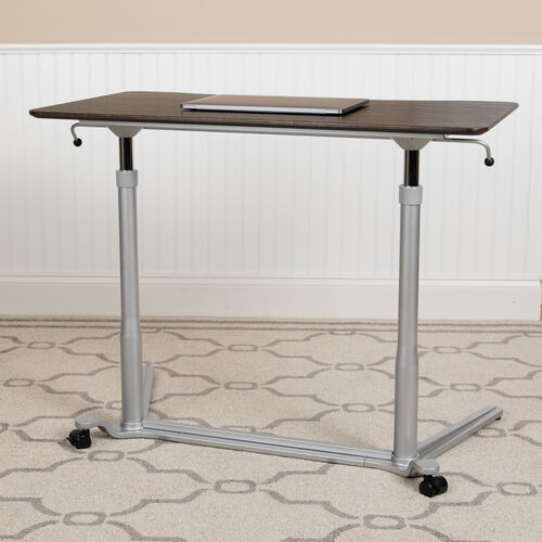 "Sit-Down, Stand-Up Dark Wood Grain Computer Ergonomic Desk with 37.375""W Top (Adjustable Range 29"" - 40.75"")"