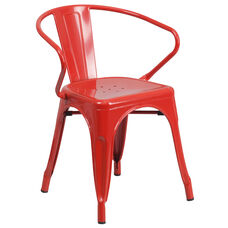 Commercial Grade Red Metal Indoor-Outdoor Chair with Arms