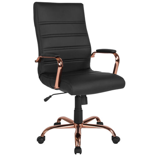 Our High Back Black Leather Executive Swivel Chair with Rose Gold Frame and Arms is on sale now.