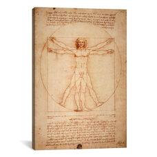 Vitruvian Man, c. 1490 by Leonardo da Vinci Gallery Wrapped Canvas Artwork