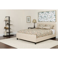 Tribeca Queen Size Tufted Upholstered Platform Bed in Beige Fabric with Pocket Spring Mattress