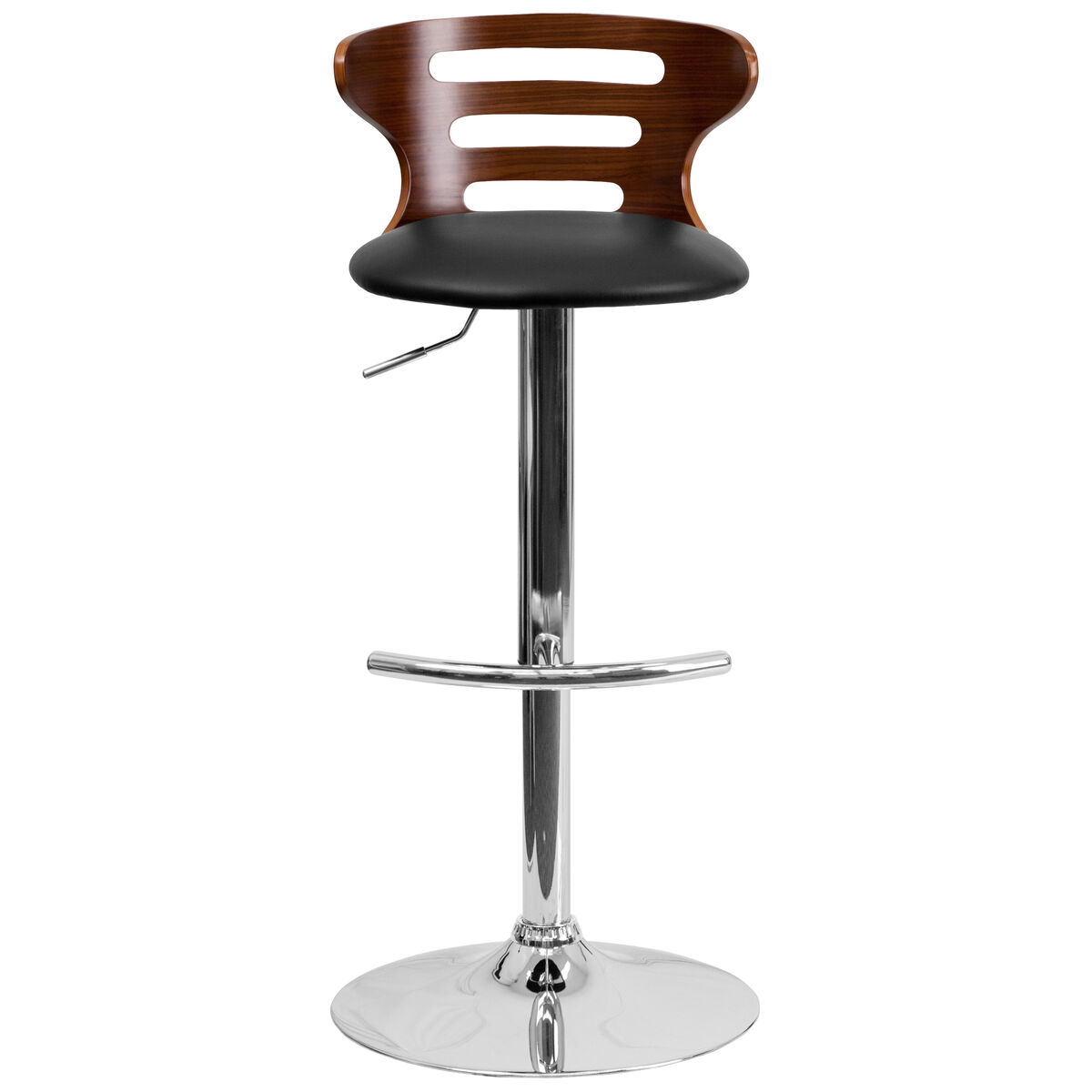 Walnut Bentwood Adjustable Height Barstool With Three Slot