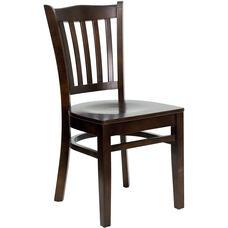 Walnut Finished Vertical Slat Back Wooden Restaurant Chair