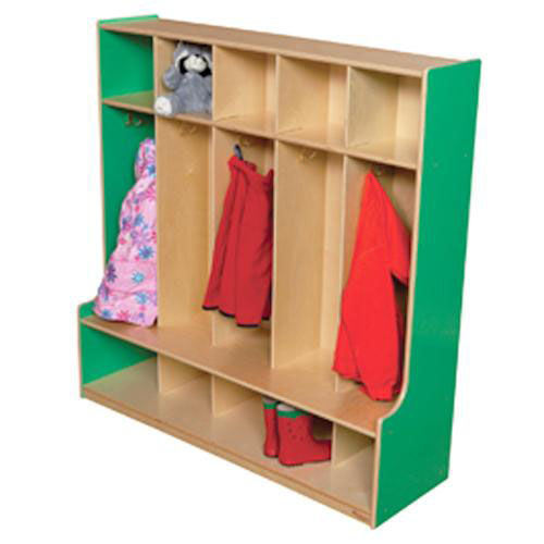 Our Green Apple 5-Section Seat Locker with Two Coat Hooks in Each Section - Assembled - 48