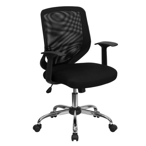 Our Mid-Back Black Mesh Tapered Back Swivel Task Office Chair with Chrome Base and T-Arms is on sale now.