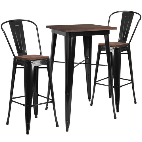 "Our 23.5"" Square Black Metal Bar Table Set with Wood Top and 2 Stools is on sale now."