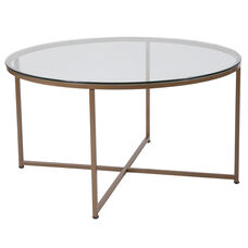 Greenwich Collection Glass Coffee Table with Matte Gold Frame