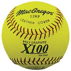 Poly-Core Slow Pitch Yellow Leather Softballs - 1 Dozen