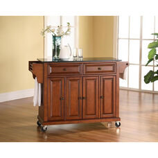 Solid Black Granite Top Kitchen Island Cart with Cabinets - Classic Cherry Finish