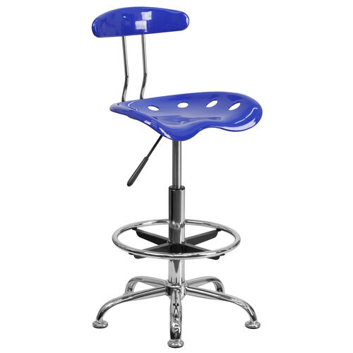 Our Vibrant Nautical Blue and Chrome Drafting Stool with Tractor Seat is on sale now.