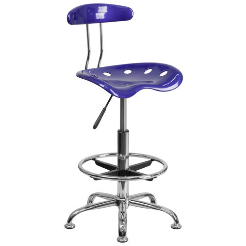 Our Vibrant Deep Blue and Chrome Drafting Stool with Tractor Seat is on sale now.