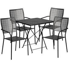 """Commercial Grade 28"""" Square Black Indoor-Outdoor Steel Folding Patio Table Set with 4 Square Back Chairs"""