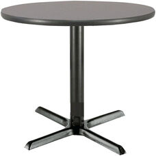 42'' Round Laminate Pedestal Table with Graphite Nebula Top - Black X-Base