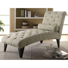 Tufted Fabric Chaise Lounger with Matching Pillow - Vintage French