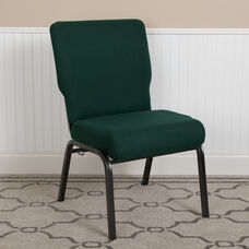Advantage 20.5 in. Hunter Green Molded Foam Church Chair with Book Rack