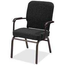 Lorell Black Fabric Oversize Stacking Armchair with 500lb Capacity - Set of 2