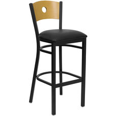 Black Circle Back Metal Restaurant Barstool with Natural Wood Back & Black Vinyl Seat