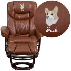 Embroidered Contemporary Multi-Position Recliner and Curved Ottoman with Swivel Mahogany Wood Base in Brown Vintage Leather
