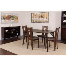 Barnes 5 Piece Espresso Wood Dining Table Set with Slotted Back Wood Dining Chairs - Padded Seats