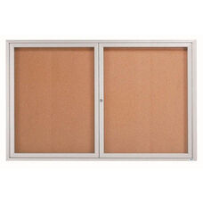 2 Door Indoor Enclosed Bulletin Board with Aluminum Frame - 48