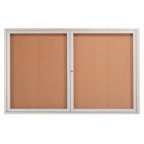 Our 2 Door Indoor Enclosed Bulletin Board with Aluminum Frame - 48