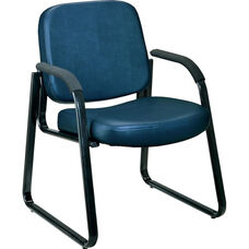 Anti-Microbial and Anti-Bacterial Vinyl Guest and Reception Chair with Arms - Navy