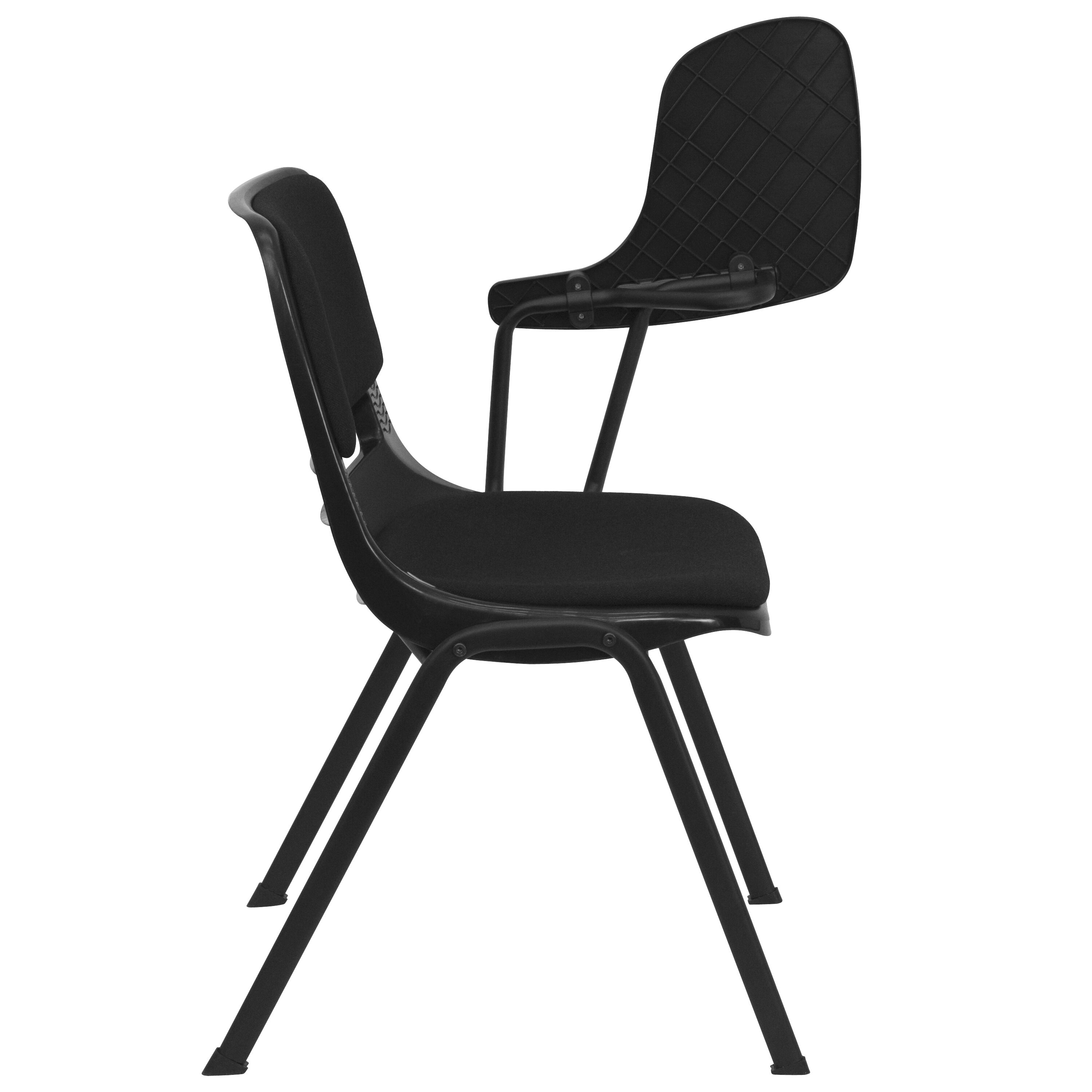 ... Our Black Padded Ergonomic Shell Chair With Left Handed Flip Up Tablet  Arm Is On