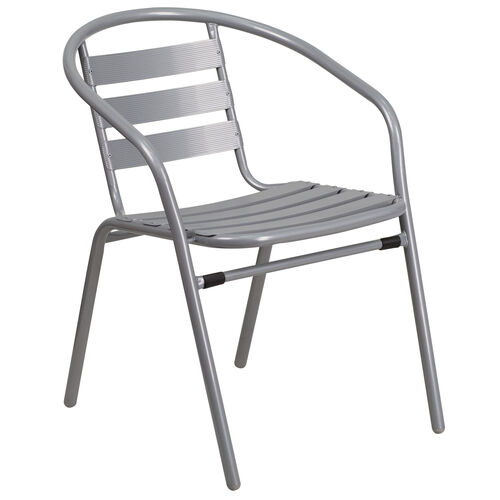Our Silver Metal Restaurant Stack Chair with Aluminum Slats is on sale now.