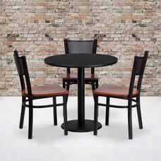 30'' Round Black Laminate Table Set with Grid Back Metal Chair and Cherry Wood Seat, Seats 3
