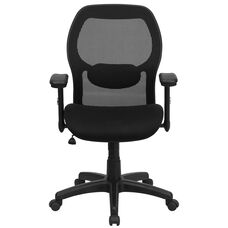 Basics Mid-Back Mesh Executive Swivel Office Chair with Adjustable Lumbar & Arms, Black