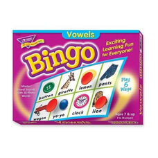 Trend Enterprises Vowels Bingo Game - 3 -36 Players - 36 Playing Cards/Mats