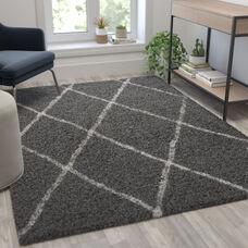 Shag Style Diamond Trellis Area Rug - 5' x 7' - Charcoal/Ivory Polyester (PET)