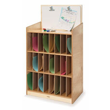 Mail and Message Center with Twenty Four Slots and Erasable Marker Board