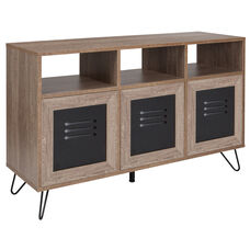 "Woodridge Collection 44""W 3 Shelf Storage Console/Cabinet with Metal Doors in Rustic Wood Grain Finish"