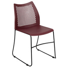 HERCULES Series 661 lb. Capacity Burgundy Stack Chair with Air-Vent Back and Black Powder Coated Sled Base