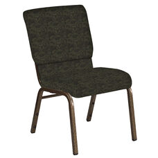 Embroidered 18.5''W Church Chair in Perplex Mint Chocolate Fabric - Gold Vein Frame