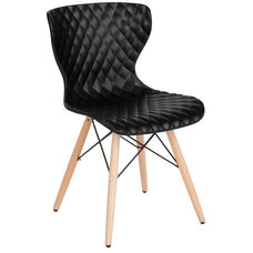 Bedford Contemporary Design Black Plastic Chair with Wooden Legs