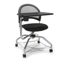 Foresee Series Tablet Moon Student Chair with Removable Fabric Seat Cushion - Black