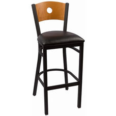 Circle Series Wood Back Armless Barstool with Steel Frame and Vinyl Seat - Cherry