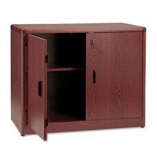 The HON Company 10700 Series Contemporary Double Door Storage Cabinet in Mahogany Finish