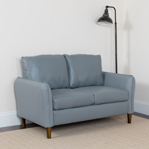 Our Milton Park Upholstered Plush Pillow Back Loveseat in Gray LeatherSoft is on sale now.