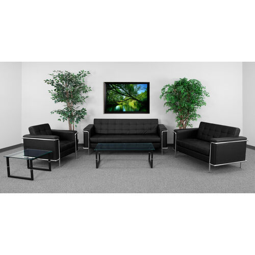 """HERCULES Lesley Series Living Room Set in Black LeatherSoft with <span style=""""color:#0000CD;"""">Free </span> Glass Coffee and End Table"""
