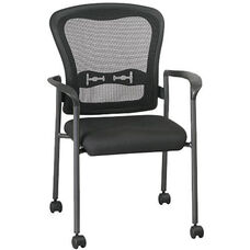 Pro-Line II Titanium Finish ProGrid® Mesh Back Visitors Stack Chair with Arms and Casters - Black