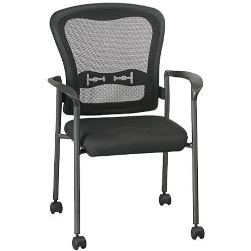 Our Pro-Line II Titanium Finish ProGrid® Mesh Back Visitors Stack Chair with Arms and Casters - Black is on sale now.