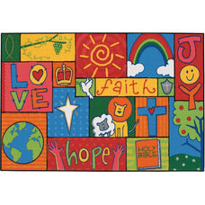 Kids Value Inspirational Patchwork Rectangular Nylon Rug - 36