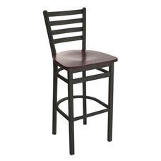 Lima Metal Ladder Back Barstool - Black Wood Seat