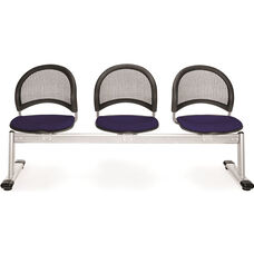 Moon 3-Beam Seating with 3 Fabric Seats - Navy